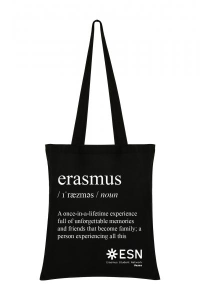 A blag tote bag with the title erasmus. Under that is a text: A once-in a lifetime experience full of unforgettable memories and friends that become family; a person experiencing all this. In the bottom right corner is ESN Vaasa's logo.