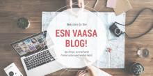 A picture with a computer map and a camera, above a text saying Welcome to the ESN Vaasa Blog